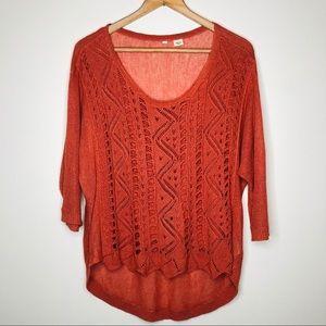MOTH Linen Blend Lightweight Open Knit Sweater LG